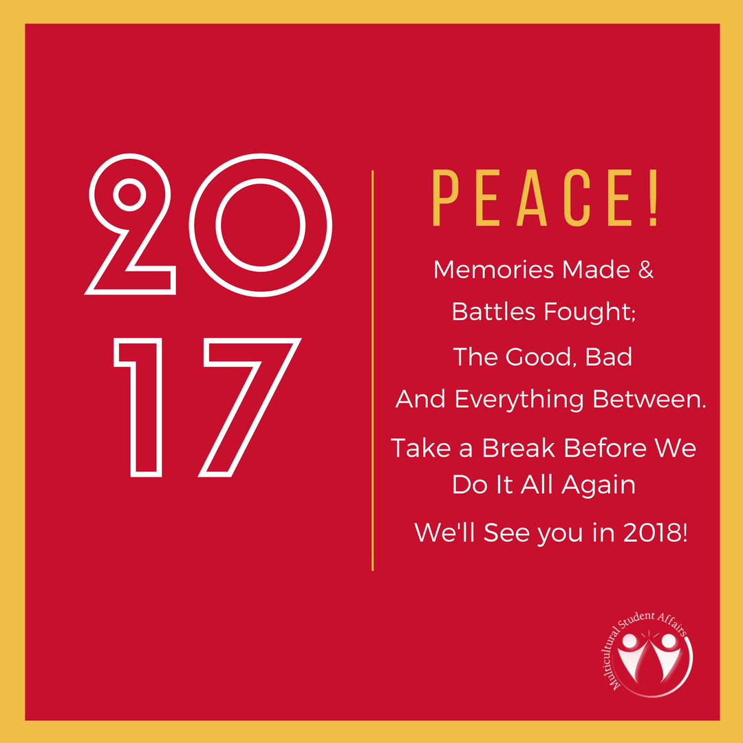 [text] 2017 [text] Peace!  Memories made and battles fought; The good, bad and everything between. Take a break before we do it all again and we'll see you in 2018! [image] MSA Logo