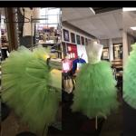 Image of green dress in production