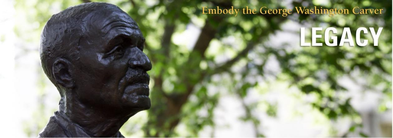 Statue of George Washington Carver.  Embody the George Washington Carver Legacy.